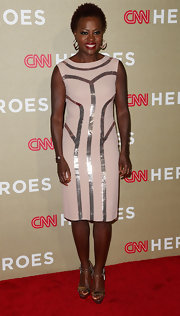 Viola looked luminous in this fitted nude dress on the CNN Heroes red carpet.