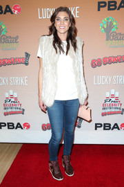 Hope Solo jazzed up a plain white tee with a fur vest for the CP3 PBA Celebrity Invitational Bowling Tournament.