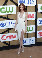 Alyssa Campanella chose an ivory body-con dress for her look at the 2013 Summer TCA Party.