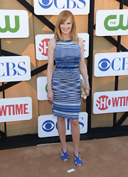Marg's blue and white striped shift dress had cool illusion designs on it that gave the simple frock a bit of pizazz.