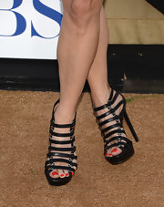 Robin Tunney's black strappy sandals blended a classic favorite with a modern edgy flare.