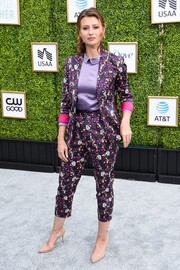 Alyson Michalka looked cute in a printed purple pantsuit by Christine Alcalay at the CW Network's fall launch event.