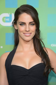 Jessica Lowndes swept on a silky shimmering copper shadow for the CW Upfront event.