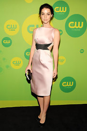 Adelaide Kane's pale blush cutout dress had a soft and pretty glow to it at the CW Upfront Event.