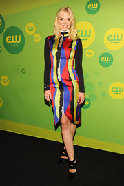 Jaime King chose this abstract multi-colored dress for a fun and vibrant look at CW's Upfront event.