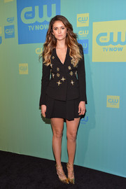 Nina Dobrev opted for an embellished black skirt suit by Alberta Ferretti when she attended the CW Network's Upfront Presentation.