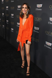 Louise Roe donned a belted orange mini dress by Silvia Tcherassi for the Cadillac Oscar Week celebration.