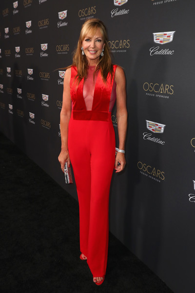 Allison Janney looked foxy in a red sheer-panel jumpsuit by Galvan at the Cadillac Oscar Week celebration.