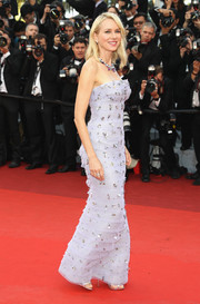 Naomi Watts dazzled in a beaded strapless lavender gown by Armani Prive at the Cannes opening gala.