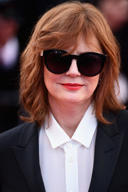 Susan Sarandon wore edgy shoulder-length waves with side-parted bangs at the Cannes opening gala.