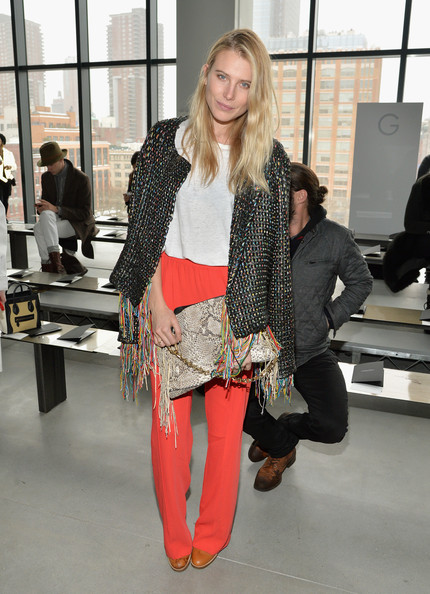 Dree Hemingway went for a punk vibe in a woven blazer with a fringed hem during the Calvin Klein fashion show.