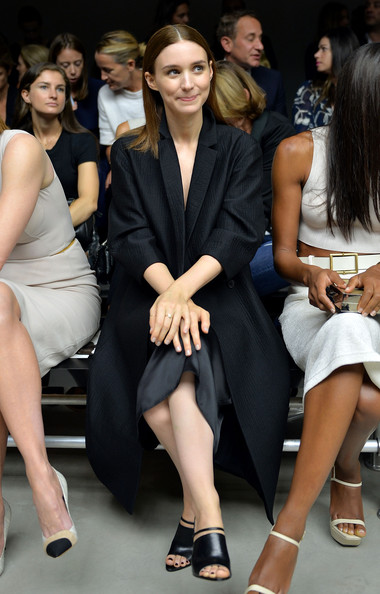 Rooney Mara sealed off her look with strappy black mules.