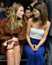 Hanneli Mustaparta attended the Calvin Klein fashion show rocking a tiny white tube top.