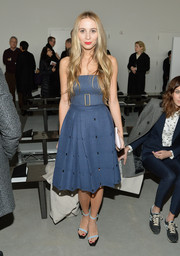 Harley Viera-Newton brought a summer vibe to the Calvin Klein fashion show with this strapless blue dress.