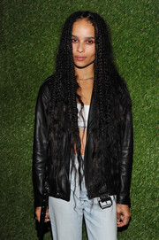 Zoe Kravitz attended the Calvin Klein Jeans music event rocking ultra-long partial braids.