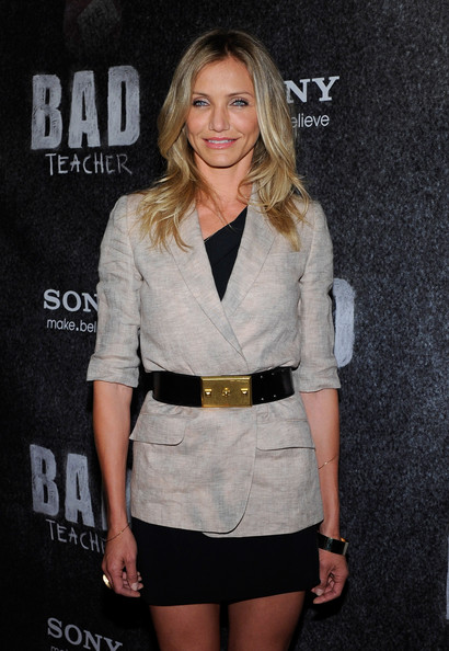 Cameron Diaz Leather Belt [bad teacher,clothing,fashion,blond,outerwear,shorts,fashion model,long hair,leg,premiere,cocktail dress,cameron diaz,award,the colosseum,caesars palace,las vegas,cinemacon,sony pictures entertainment,cinemacon female star of the year,convention]