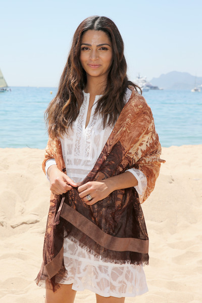 Camila Alves Patterned Scarf [clothing,beauty,photo shoot,fashion,model,outerwear,long hair,photography,summer,lace,belgian chocolate wrap,camila alves,chocolate,aroma,gift,cannes,france,bcbgmaxazria,magnum,purchase]