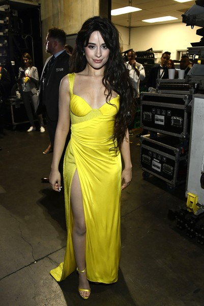Camila Cabello Wrap Dress [clothing,fashion model,yellow,dress,shoulder,fashion,hairstyle,long hair,fashion design,black hair,dress,camila cabello,hair,fashion,clothing,fashion model,yellow,shoulder,staples center,annual grammy awards,camila cabello,staples center,60th annual grammy awards,fifth harmony,photograph,image,singer-songwriter,camilizers]