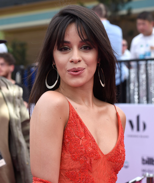 Camila Cabello Sterling Hoops [hits 1,broadcasts,hits 1 in hollywood,hair,lady,beauty,hairstyle,long hair,lip,shoulder,brown hair,model,premiere,camila cabello\u00eaposes,billboard music awards,red carpet,hollywood,t-mobile arena,siriusxm,red carpet]