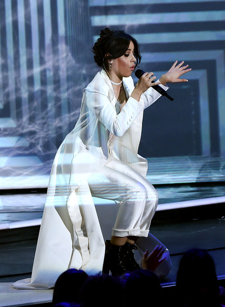 Camila Cabello Evening Coat [performance,performing arts,public event,stage,singing,event,singer,leg,japanese idol,black hair,camila cabello,kids choice awards,california,los angeles,usc galen center,nickelodeon,show]