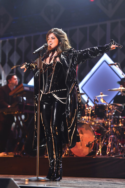 Camila Cabello Leather Coat [performance,music artist,entertainment,performing arts,music,singing,stage,event,public event,concert,camila cabello,new york city,iheartradio,capital one,z100 jingle ball]