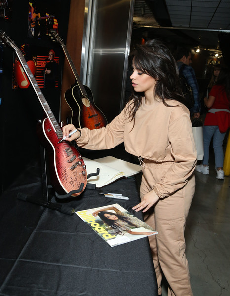 Camila Cabello Crop Top [string instrument,musical instrument,plucked string instruments,musician,music,electric guitar,guitar,guitarist,electronic instrument,camila cabello,grammy,signings,los angeles,california,staples center,charities,grammy charities signings,annual grammy awards]