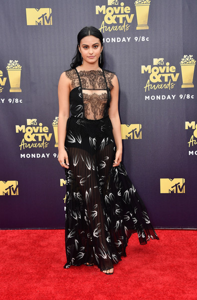 Camila Mendes Sheer Dress [movie,flooring,carpet,red carpet,fashion,shoulder,fashion model,gown,fashion design,joint,camila mendes,tv awards,santa monica,california,barker hangar,mtv]