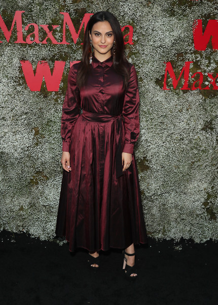 Camila Mendes Shirtdress [instyle max mara women in film celebration,max mara women in film celebration,camila mendes,clothing,red,pink,fashion,dress,formal wear,fashion design,gothic fashion,magenta,costume,chateau marmont,los angeles,california,instyle]