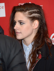 K-Stew rocked a braided side-sweep at the Camp X-Ray premiere.