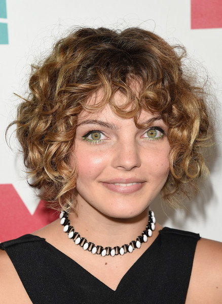 Camren Bicondova Curled Out Bob [hair,face,hairstyle,eyebrow,blond,chin,brown hair,ringlet,hair coloring,layered hair,arrivals,camren bicondova,san diego,california,andaz hotel,20th century fox party,party,comic-con international 2015]