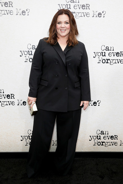 Melissa McCarthy kept it low-key in a black double-breasted pantsuit at the New York premiere of 'Can You Ever Forgive Me?'