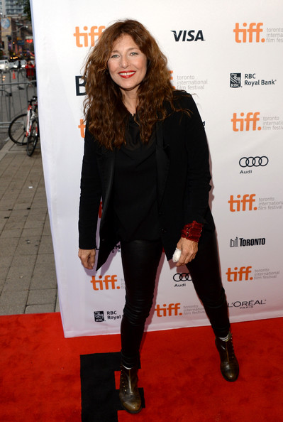 Catherine Keener brought an edgy vibe to the red carpet with her black leather skinnies and boots combo during the premiere of 'Can a Song Save Your Life?'