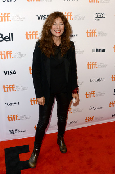 Catherine Keener put an edgy spin on her black tux by pairing it with leather skinnies during the premiere of 'Can a Song Save Your Life?'