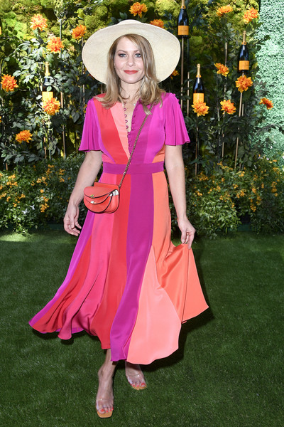 Candace Cameron Bure Print Dress [clothing,pink,fashion,dress,lady,orange,magenta,peach,spring,formal wear,arrivals,candace cameron-bure,los angeles,pacific palisades,california,will rogers state historic park,veuve clicquot polo classic]