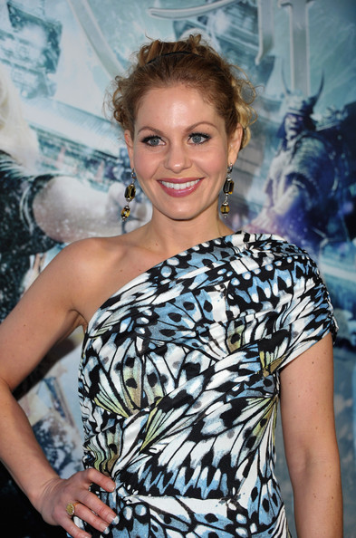 Candace Cameron Dangling Gemstone Earrings [sucker punch,shoulder,hairstyle,premiere,dress,smile,style,red carpet,candace cameron,grauman,los angeles,california,hollywood,warner bros. pictures,premiere,premiere]