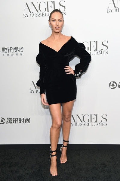 Candice Swanepoel Off-the-Shoulder Dress [clothing,shoulder,cocktail dress,dress,little black dress,black,fashion model,joint,footwear,fashion,arrivals,cindy crawford,candice swanepoel host angels,candice swanepoel,russell james,angels,stephan weiss studio,russell james book launch and exhibit,exhibit,book launch]