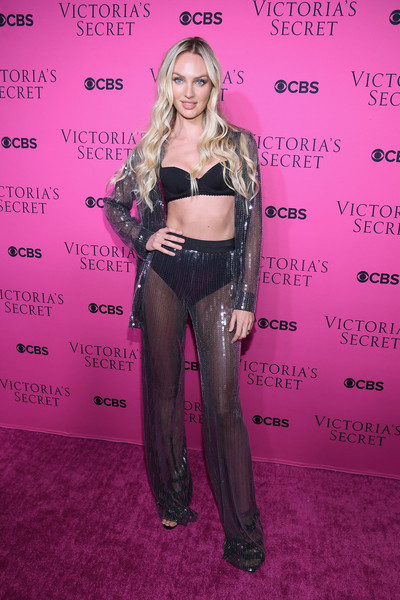 Candice Swanepoel Pantsuit [clothing,fashion,premiere,carpet,long hair,flooring,eyelash,fashion design,see-through clothing,brown hair,candice swanepoel,new york city,victorias secret,spring studios,victorias secret fashion show,victorias secret angels gather to watch,viewing party]