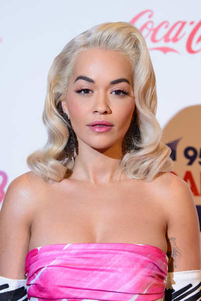 More Pics of Rita Ora Pink Lipstick (5 of 19) - Makeup Lookbook - StyleBistro [hair,face,blond,hairstyle,lip,beauty,eyebrow,long hair,chin,pink,red carpet arrivals,rita ora,england,london,the o2 arena,capital fm,jingle bell ball]