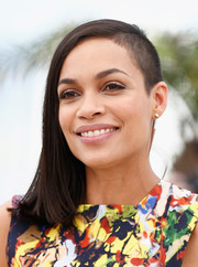 Rosario Dawson attended the 'Captives' photocall looking edgy with her half-shaved hairstyle.