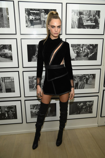 Cara Delevingne Cutout Dress [clothing,knee-high boot,fashion,leg,joint,knee,footwear,lady,thigh,shoulder,new york city,times square edition premiere,cara delevingne]