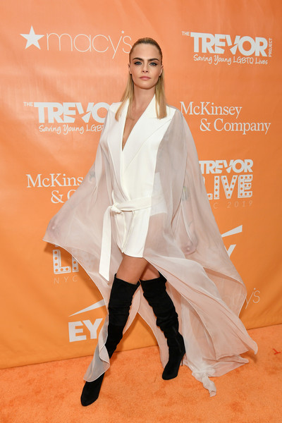 Cara Delevingne Tuxedo Dress [trevorlive new york,fashion model,clothing,carpet,fashion,flooring,footwear,red carpet,outerwear,leg,premiere,gala,trevorlive new york gala,cipriani wall street,new york city]