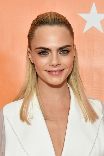Cara Delevingne Half Up Half Down [hair,face,blond,hairstyle,eyebrow,skin,beauty,lip,chin,long hair,cara delevingne,cipriani wall street,new york city,trevorlive new york,gala,trevorlive new york gala]