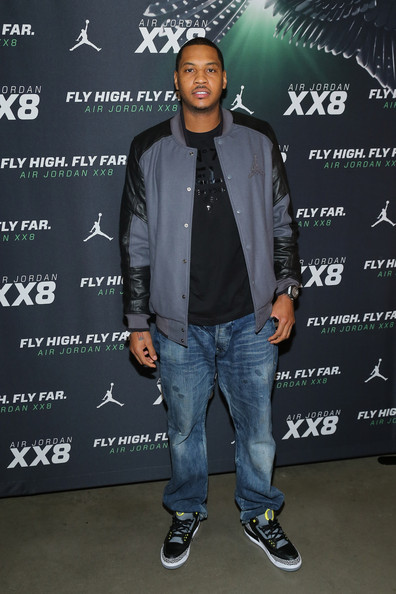 Carmelo Anthony Motorcycle Jacket [jacket,denim,footwear,cool,outerwear,textile,technology,shoe,event,jeans,carmelo anthony,dare to fly ajxx8,rooftop lounge,new york city,dream downtown,ph-d,event]