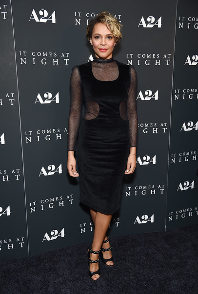 Carmen Ejogo Studded Heels [it comes at night,clothing,dress,little black dress,cocktail dress,shoulder,fashion,joint,footwear,neck,fashion model,carmen ejogo,new york,the metrograph,premiere]