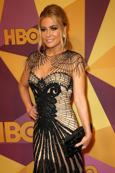 Carmen Electra Beaded Clutch [clothing,dress,red carpet,carpet,premiere,shoulder,fashion,joint,flooring,long hair,carmen electra,official golden globe awards,california,los angeles,circa 55 restaurant,hbo,arrivals]