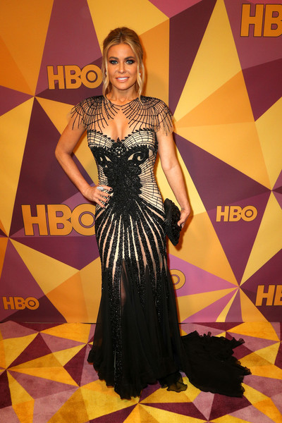 Carmen Electra Fishtail Dress [clothing,dress,carpet,red carpet,fashion,fashion model,gown,hairstyle,flooring,event,carmen electra,official golden globe awards,california,los angeles,circa 55 restaurant,hbo,arrivals]