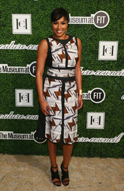 Alicia Quarles kept it modern and chic in a geometric-print dress during the Couture Council Award luncheon.