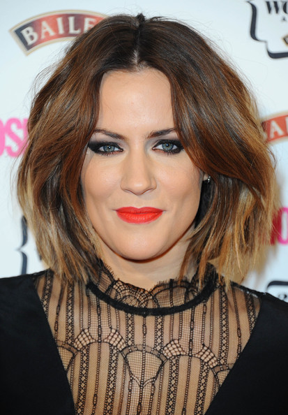 Caroline Flack Bob [hair,face,hairstyle,lip,eyebrow,chin,blond,layered hair,brown hair,cheek,red carpet arrivals,caroline flack,cosmopolitan ultimate women of the year awards,england,london,one mayfair]