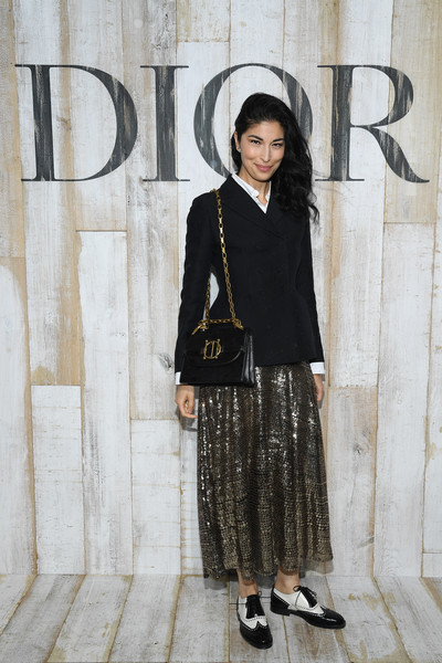 Caroline Issa Full Skirt [s19 cruise collection : photocall at grandes ecuries de chantilly,clothing,street fashion,fashion,snapshot,footwear,outerwear,photography,dress,shoe,pattern,caroline issa,chantilly,france,christian dior couture s,couture s,photocall]
