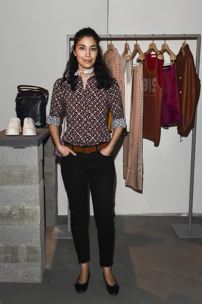 Caroline Issa Ballet Flats [clothing,fashion,brown,shoulder,boutique,fashion design,blouse,shirt,trousers,fashion model,caroline issa,bally ss18 presentation,italy,milan,bally womens spring summer 2018 press presentation]
